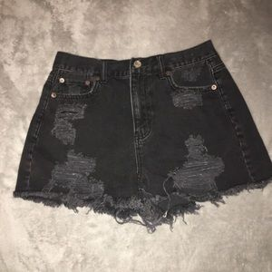High-Waisted Black Ripped Shorts